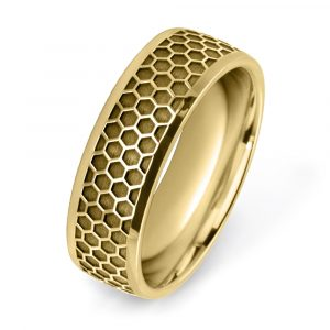 Honeycomb Wedding Rings in yellow gold W7545-YG-A