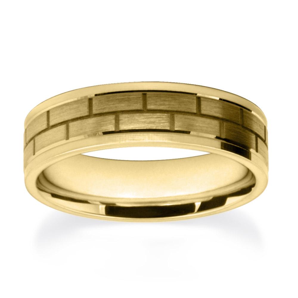 Yellow Gold Block Pattern Wedding Rings W7513-YG-A