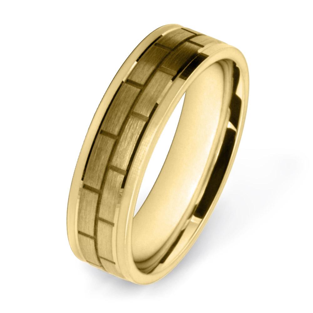 Yellow Gold Block Pattern Wedding Rings W7513-YG