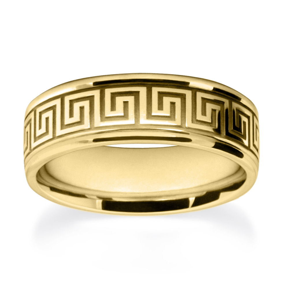 Yellow Gold Meander Patterned Wedding Rings W7507-YG-A