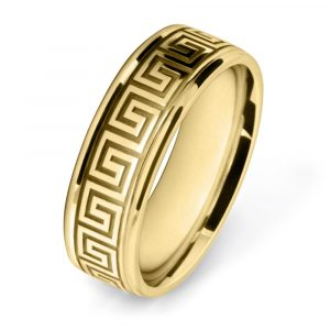 Yellow Gold Meander Patterned Wedding Rings W7507-YG
