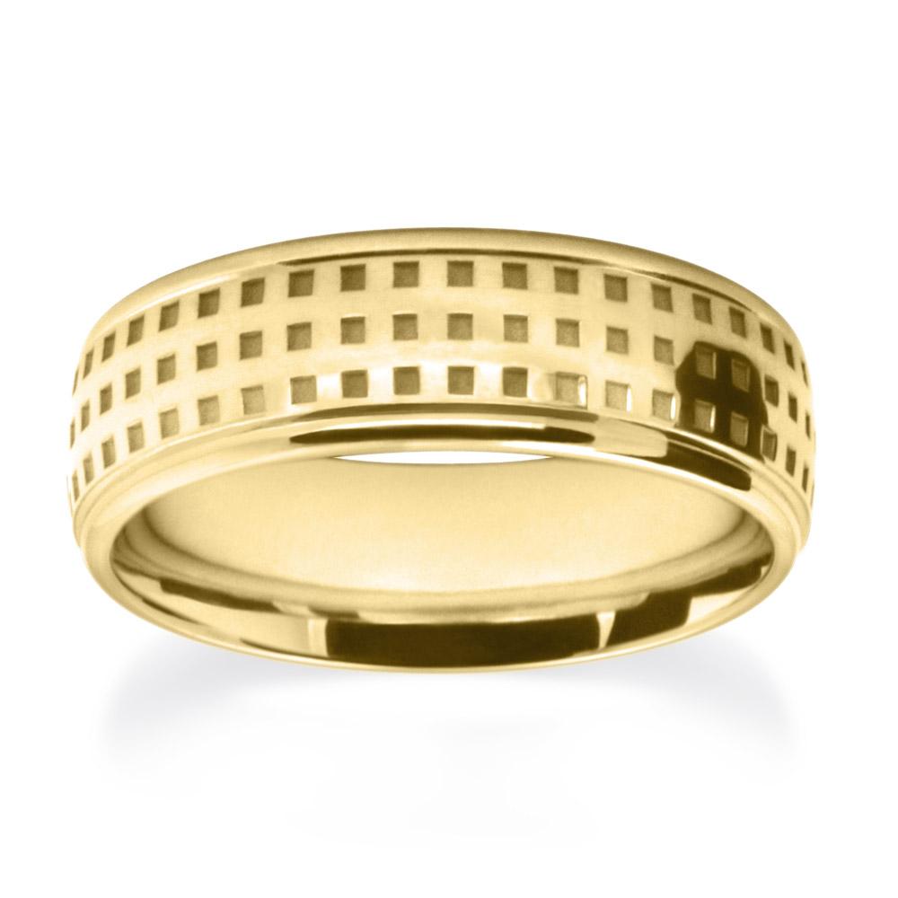 Yellow Gold Pincheck Pattern Wedding Ring W7501-YG-A