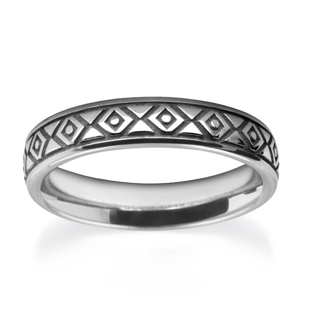White Gold Diamond Patterned Wedding Ring W7547