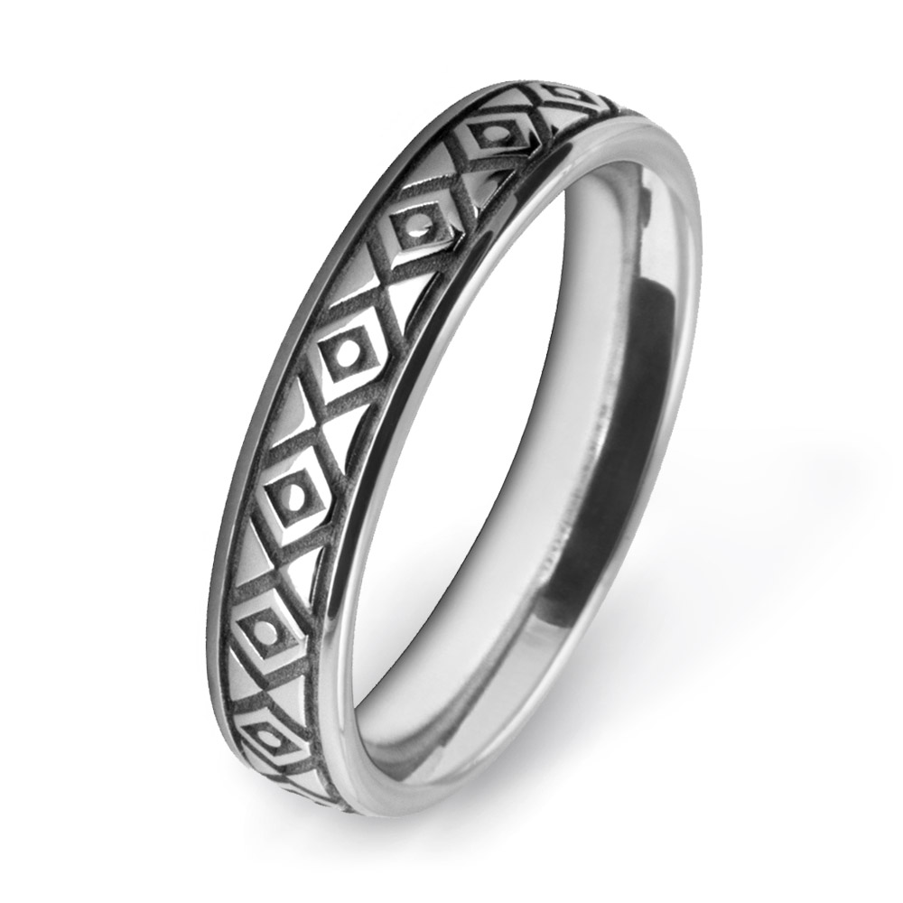 White Gold Diamond Patterned Wedding Ring W7547-WG
