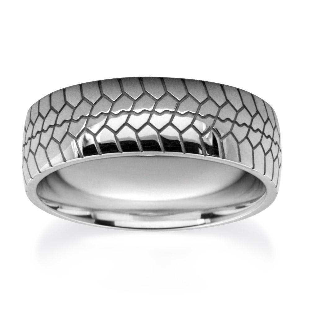 Tire Tread Patterned Wedding Rings W7542-WG-A