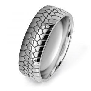 Tire Tread Patterned Wedding Rings W7542-WG