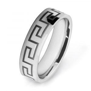 White Gold Greek Key Meander Patterned Wedding Rings W7519-YG