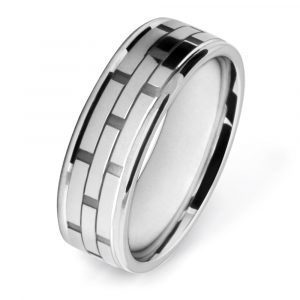 White Gold Brick Pattern Wedding Ring W7511-WG