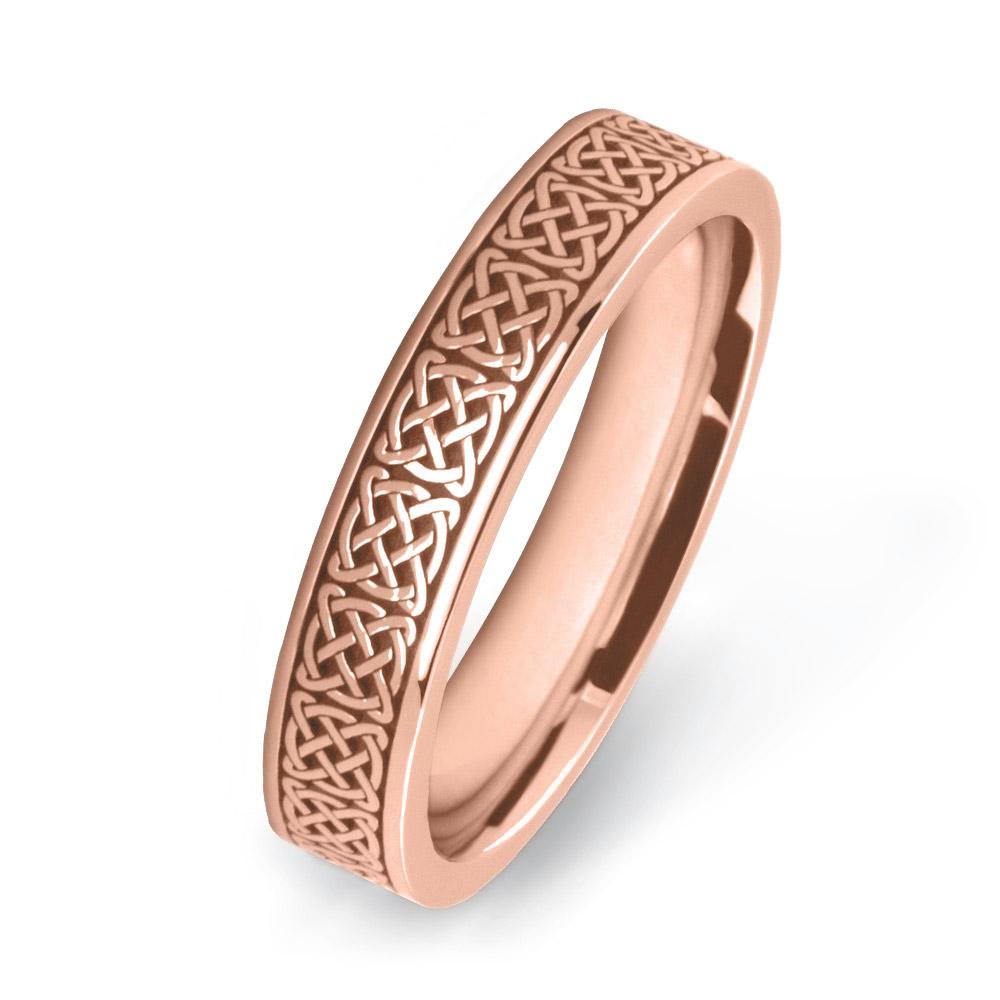 Ladies Gold Rose Celtic Wedding Rings W7538-4MM