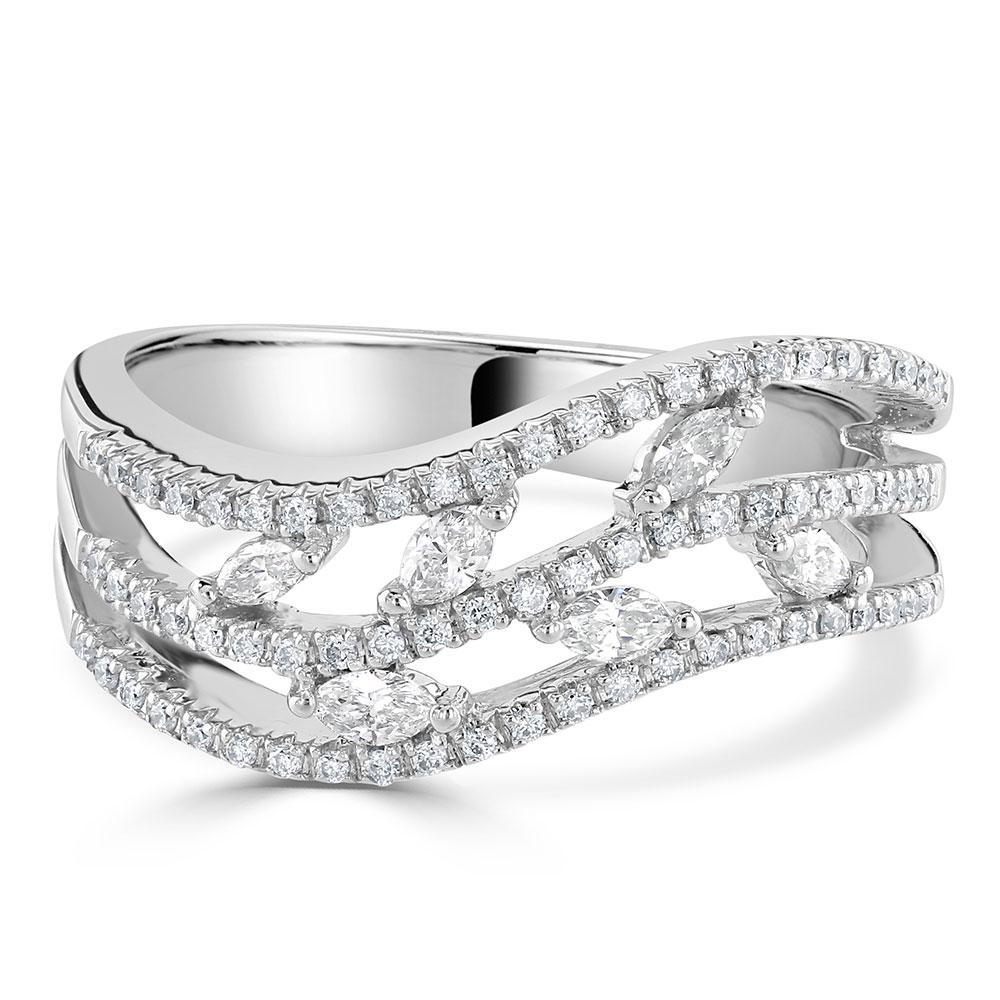 Three Row Diamond Eternity Ring