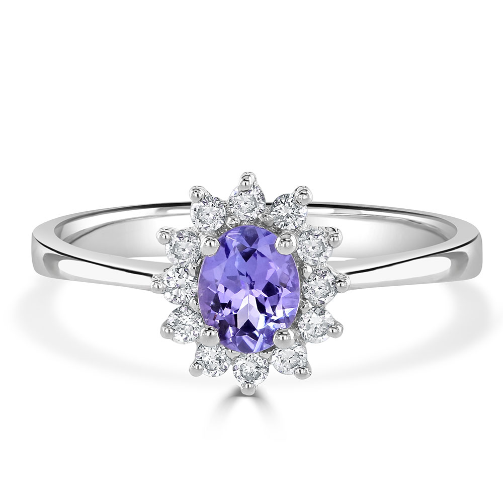 Oval Tanzanite Diamond Ring