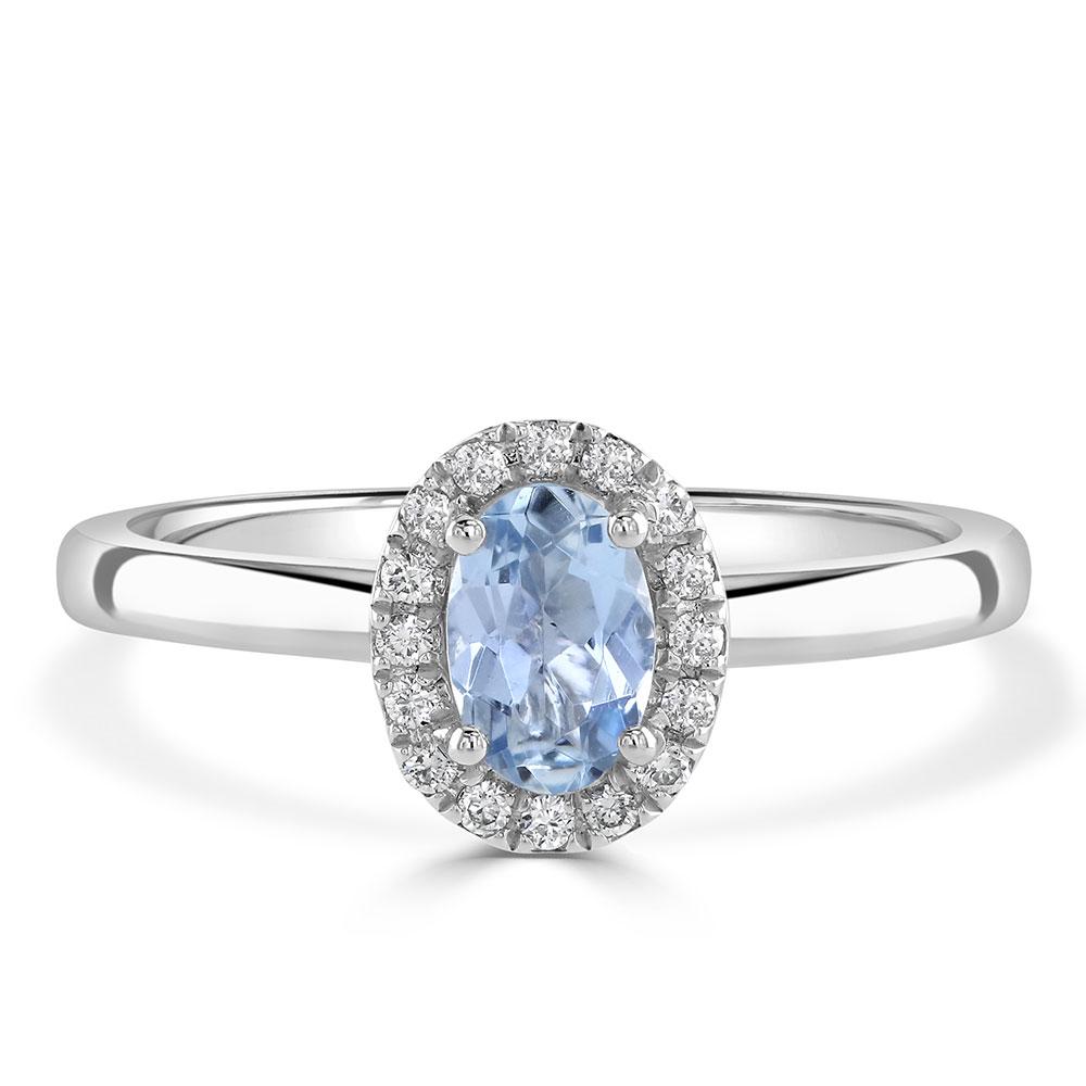Aquamarine Diamond Halo Engagement Ring